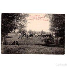 Postales: DESCANSO EN LAS HERAS DE SIMANCAS. COLECCION ACADEMIA CABALLERIA. MARCHA 1909. Lote 153817782