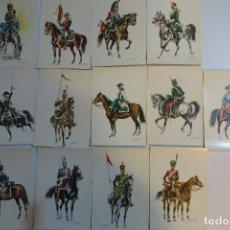 Postales: 13 ANTIGUAS POSTALES UNIFORMES MILITARES CABALLERIA. Lote 154200898