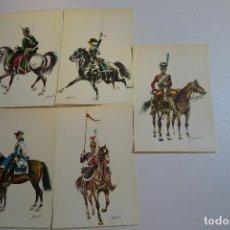 Postales: 5 ANTIGUAS POSTALES UNIFORMES MILITARES CABALLERIA. Lote 154201294