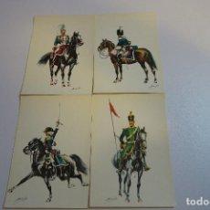 Postales: 4 ANTIGUAS POSTALES UNIFORMES MILITARES CABALLERIA. Lote 154201386