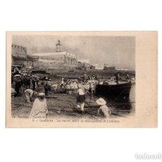 Postales: GUERRA DE MARRUECOS. CASABLANCA Nº 13. JH BOUSSUGE.- LES MARINS AIDENT AU DEBARQUEMENT DE L´ARTILLER. Lote 154247118