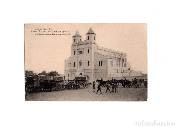 CAMPAÑA DEL RIF. 1921- LA IGLESIA DE NADOR DESPUÉS DE LA OCUPACIÓN (Postales - Postales Temáticas - Militares)