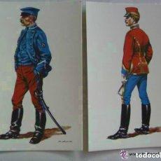 Postales: LOTE DE 2 POSTALES DE CABALLERIA : MAESTRO HERRADOR Y HUSAR DE PAVIA, 1892. DE DELFIN SALAS. Lote 158680786