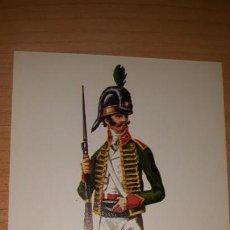 Postales: LAMINA TAMAÑO POSTAL SOLDADO DEL REGIMIENTO LIGERO DE CATALUÑA AÑO 1807. ESPAÑA MILITAR. Lote 164603634