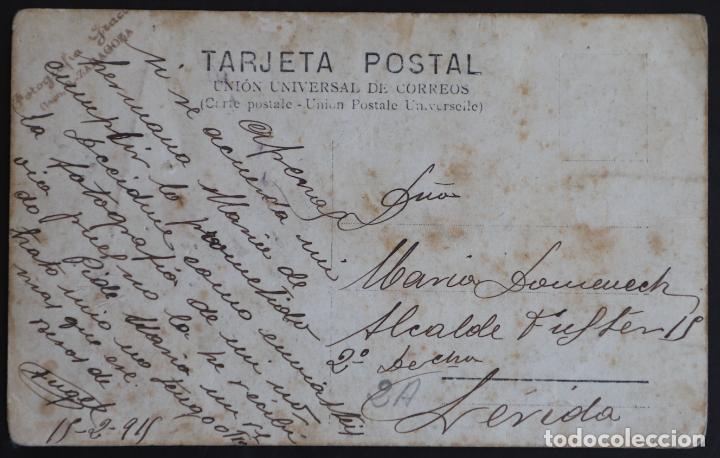 Postales: Batallón militar - año 1911 - Circulada destinatario Lérida (Lleida) - Carro con cañón - Foto 2 - 165120226