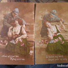 Postales: POSTALES MILITARES ROMANTICAS 1 GUERRA MUNDIAL SERIE. Lote 166292106