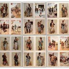 Postales: LOTE 24 POSTALES COLECCION ANTIGUOS UNIFORMES REGIMIENTOS MILITARES ESPAÑA. Lote 166995432