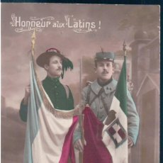 Postales: POSTAL HONNEUR AUX LATINS! - MILITARES CON BANDERAS. Lote 170167588