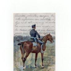 Postales: POSTAL ILUSTRADA POR J. CUSACHS DE 1902. ED. THOMAS. SOLDADO. MILITAR ESPAÑOL. CARTERÍA ZARAGOZA. Lote 175132623