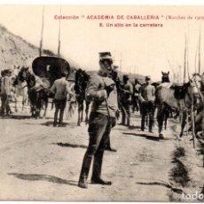 Postales: PS8218 COLECCIÓN ACADEMIA DE CABALLERÍA \'MARCHAS 1909 UN ALTO EN LA CARRETERA\'. Lote 176264702