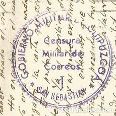 Postales: SELLO TAMPON CENSURA MILITAR CORREOS-GOBIERNO MILITAR GUIPUZCOA-SAN SEBASTIAN-VER REVERSO-(62.233). Lote 176300923