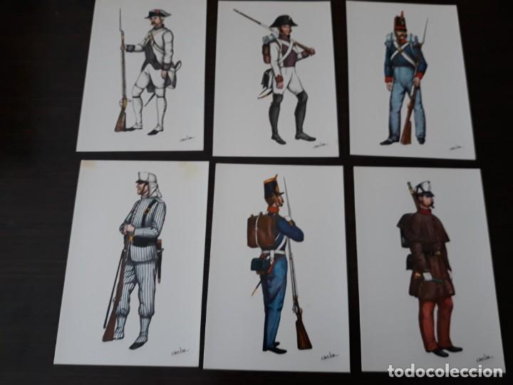 Postales: Postales uniformes del regimiento n°1 del Rey - Foto 2 - 176454562