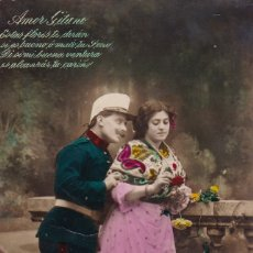 Postales: AMOR GITANO ED. MADRID CIRCULADA 1918. Lote 177381133