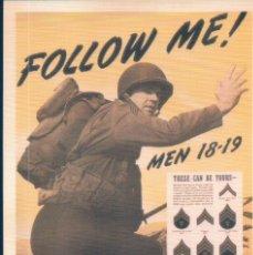 Postales: POSTAL FOLLOW ME - MEN 18-19 .U.S.ARMY. Lote 179068227