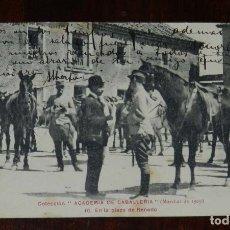 Postales: POSTAL DE LA COLECCIÓN ACADEMIA DE CABALLERÍA, MARCHAS 1909, N.10. EN LA PLAZA DE RENEDO, CIRCULADA. Lote 180222292