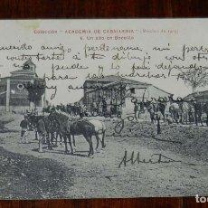 Postales: POSTAL DE LA COLECCIÓN ACADEMIA DE CABALLERÍA, MARCHAS 1909, N.6. UN ALTO EN BOECILLO, CIRCULADA, E. Lote 180222357
