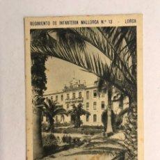 Postales: LORCA (MURCIA) POSTAL. REGIMIENTO DE INFANTERÍA MALLORCA NO.13, DETALLE DE JARDIN (H.1940?). Lote 180332037