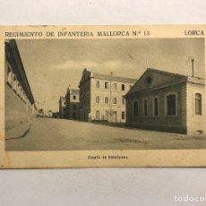 Postales: LORCA (MURCIA) POSTAL. REGIMIENTO DE INFANTERÍA MALLORCA NO.13, DETALLE DE PABELLÓNES (H.1940?). Lote 180332877