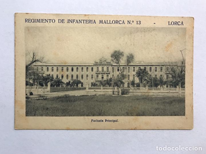LORCA (MURCIA) POSTAL. REGIMIENTO DE INFANTERÍA MALLORCA NO.13, FACHADA PRINCIPAL (H.1940?) (Postales - Postales Temáticas - Militares)