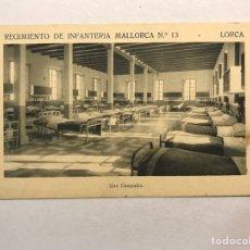 Postales: LORCA (MURCIA) POSTAL. REGIMIENTO DE INFANTERÍA MALLORCA NO.13, UNA COMPAÑÍA (H.1940?). Lote 180347357
