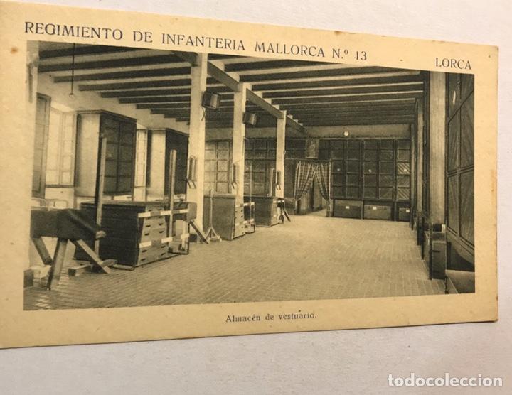 LORCA (MURCIA) POSTAL. REGIMIENTO DE INFANTERÍA MALLORCA NO.13, ALMACEN DE VESTUARIO (H.1940?) (Postales - Postales Temáticas - Militares)