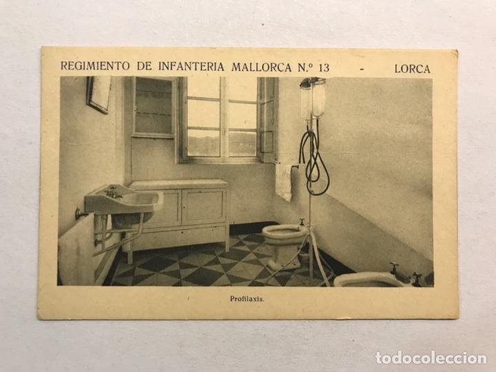 LORCA (MURCIA) POSTAL. REGIMIENTO DE INFANTERÍA MALLORCA NO.13, PROFILAXIS (H.1940?) (Postales - Postales Temáticas - Militares)