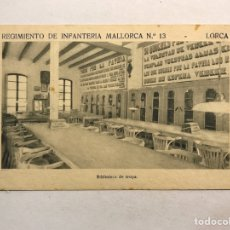 Postales: LORCA (MURCIA) POSTAL. REGIMIENTO DE INFANTERÍA MALLORCA NO.13, BIBLIOTECA DE LA TROPA (H.1940?). Lote 180399073
