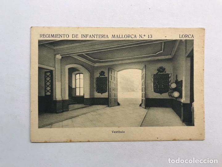 LORCA (MURCIA) POSTAL. REGIMIENTO DE INFANTERÍA MALLORCA NO.13, VESTIVULO (H.1940?) (Postales - Postales Temáticas - Militares)