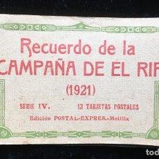 Postales: RECUERDO DE LA CAMPAÑA DE EL RIF (1921) SERIE IV - 12 POSTALES . OCUPACIÓN DEL GURUGÚ - MELILLA -. Lote 182248996