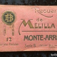 Postales: RECUERDO DE MELILLA - MONTE - ARRUIT - SERIE B - 12 TARJETAS POSTALES - BOIX HERMANOS - RIF - ANNUAL. Lote 182616881