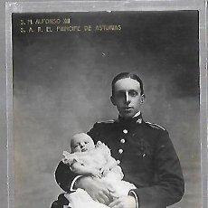 Postales: POSTAL. S.M. ALFONSO XIII Y S.A.R. EL PRINCIPE DE ASTURAS. LB. FAMILIA REAL Nº 27. Lote 185681751
