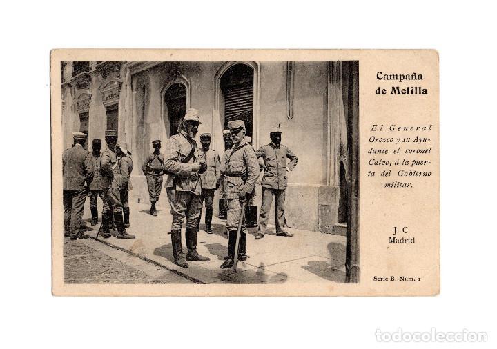 MELILLA.- CAMPAÑA MELILLA, EL GENERAL OROZCO Y SU AYUDANTE. J.C. MADRID, SERIE 4ª N. 10. (Postales - Postales Temáticas - Militares)
