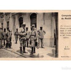 Postales: MELILLA.- CAMPAÑA MELILLA, EL GENERAL OROZCO Y SU AYUDANTE. J.C. MADRID, SERIE 4ª N. 10. . Lote 186066167