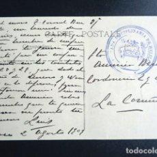 Postales: BRIGADA DISCIPLINARIA DE MELILLA. TENIENTE CORONEL BURGUETE. SELLO SOBRE TARJETA POSTAL CIRCULADA. . Lote 193996676