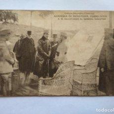 Postales: POSTAL -- ACADEMIA DE INFANTERIA. S. M. FELICITANDO AL GENERAL DIRECTOR. CURSO 1913-14 -- SIN USO --. Lote 194498282