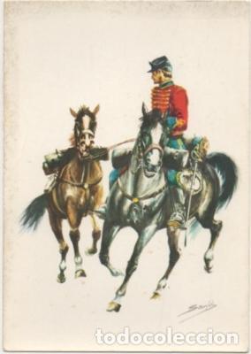 POSTAL UNIFORMES MILITARES. SOLDADO DEL RGTO. DE HUSARES DE PAVIA 1885. SERIE 1 Nº 6 P-MI-380,2 (Postales - Postales Temáticas - Militares)