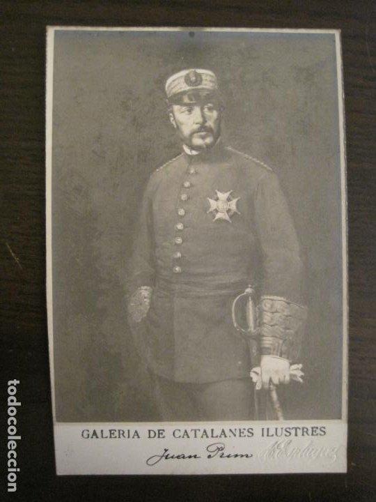 JUAN PRIM-GALERIA CATALANES ILUSTRES-FOTO A.ESPLUGAS-POSTAL FOTOGRAFICA ANTIGUA-VER FOTOS-(67.922) (Postales - Postales Temáticas - Militares)
