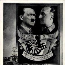 Postales: ESPAÑA FRANCO HITLER PROPAGANDA ANTIGUA POSTAL . Lote 195013961