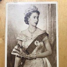 Postales: POSTAL ANTIGUA ISABEL II REINA INGLATERRA SELLADA Y ESCRITA . Lote 195524991