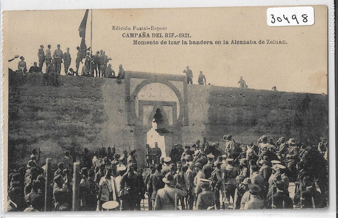 GUERRA DE MARRUECOS - CAMPAÑA DEL RIF 1921 - MOMENTO DE IZAR LA BANDERA EN ZELUÁN - P30498 (Postales - Postales Temáticas - Militares)