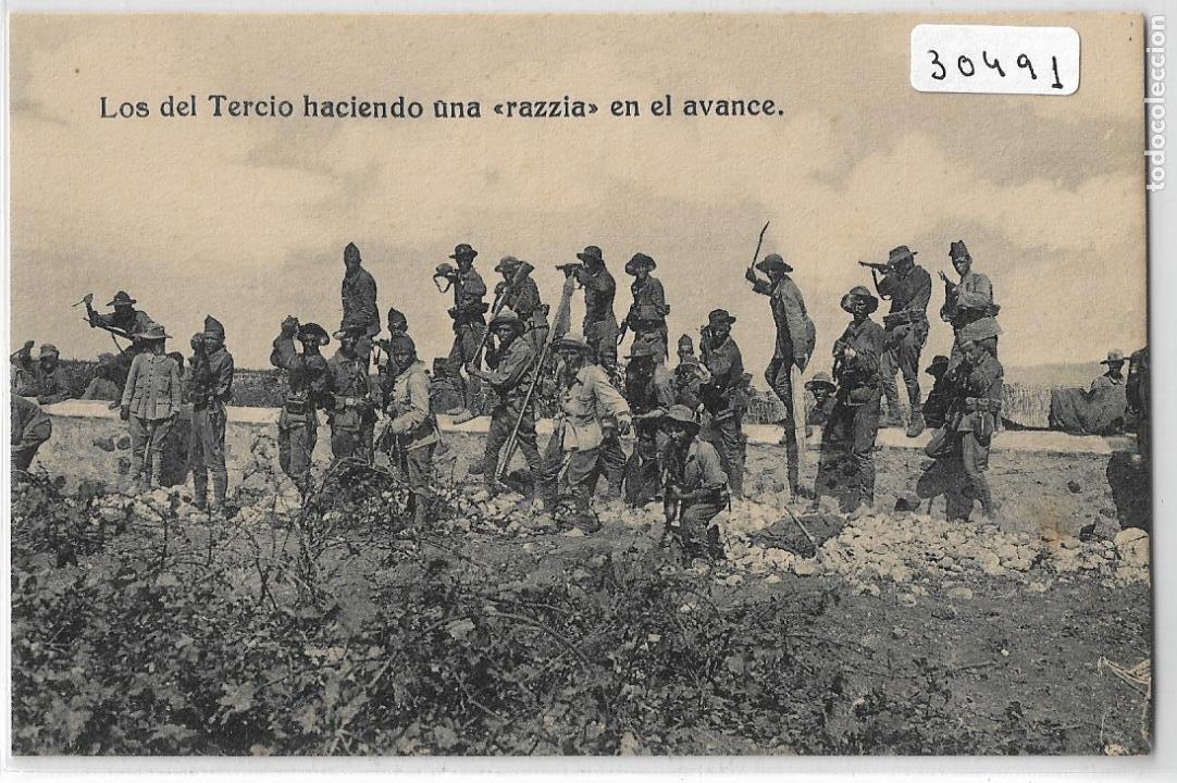 GUERRA DE MARRUECOS - CAMPAÑA DEL RIF 1921 - LOS DEL TERCIO HACIENDO UNA RAZZIA - LEGIÓN - P30493 (Postales - Postales Temáticas - Militares)