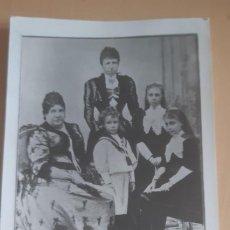 Postales: POSTAL ANTIGUA REINA ISABEL II MADRE DE ALFONSO XII JUNTO CON LA REINA DOÑA CRISTINA Y SUS 3 HIJAS. Lote 198787860