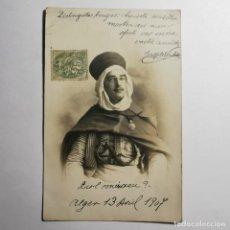 Postales: ANTIGUA POSTAL - ALGER 13 ABRIL 1907 - ESCRITA POR EL PERSONAJE QUE APARECE EN ELLA - MILITAR / 20. Lote 199830037