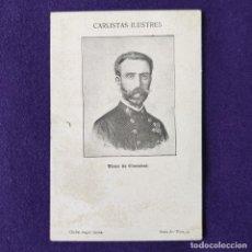 Postales: POSTAL CARLISMO. CARLISTAS ILUSTRES. SERIE A. Nº9 TIRSO DE CLAZABAL. CLICHE ANGEL SAINZ. 1900-1905.. Lote 200040532