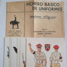 Postales: UNIFORMES DE LA SEGUNDA GUERRA MUNDIAL - SERIE 8 FICHAS. Lote 201620753