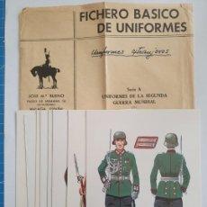 Postales: UNIFORMES DE LA SEGUNDA GUERRA MUNDIAL - SERIE 8 FICHAS. Lote 201620953