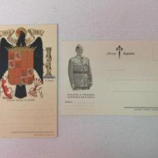Postales: ESCUDO DE ESPAÑA Y SALUDO A FRANCO. Lote 203926393