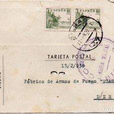 Postales: POSTAL MUY ANTIGUA, DERIO BILBAO, CON SELLOS RESELLOS, SOBRECARGAS Y CENSURAS MILITARES. Lote 204589916
