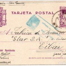 Postales: POSTAL MUY ANTIGUA, EIBAR GUIPÚZCOA, CON SELLOS RESELLOS, SOBRECARGAS Y CENSURAS MILITARES. Lote 204592008