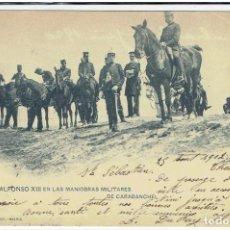 Postales: POSTAL, S.M.D.ALFONSO XIII EN LAS MANIOBRAS MILUTARES DE CARABANCHEL, HAUSER Y MENET 1020, SIN DIVID. Lote 205400193